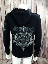BCBG Max Azria Black Bling Embellished Zip Up Hoodie Cross Design VERY PRETTY