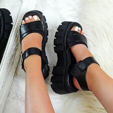 Womens Ladies Chunky Flatform Sandals Strappy Buckle Goth Platform Rock Shoes Sz