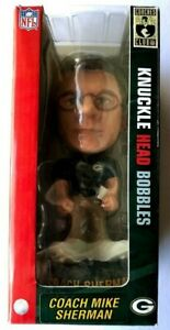 """2004 Green Bay Packers Coach Mike Sherman Knuckle Head 8"""" Bobble New in Box"""