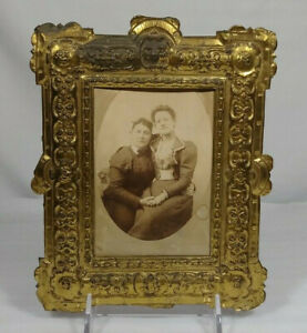 Scarce Early Embossed Gilted Brass Victorian Era Cabinet Photo Picture Frame Old