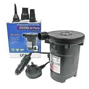 Electric Air Bed Pump Airbed AirPump 240v UK Mains/12v Car Cigarette Plug Socket