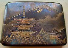 Antique Japanese 950 Sterling Silver Double Hinge Cigarette Holder Case Mt Fuji