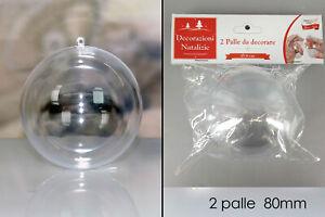 2 palle palline trasparenti sfere per albero di natale da decorare addobbi natal