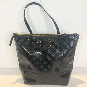 Kate Spade Vegan Leather Patent Embossed Handbag Black Spades