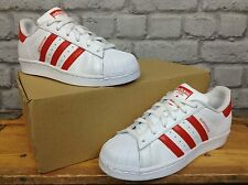 ADIDAS LADIES UK 5 1/2 EU 38 2/3 WHITE RED SUPERSTAR TRAINERS RRP £75