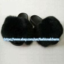 Max Large XXL Real Fox Fur Slides Women's Slippers Indoor Ourdoor Furry Shoes