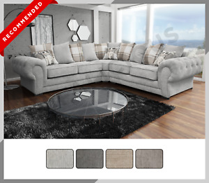 NEW LARGE - Verona Corner Sofa - 6 SEATER - Buttoned Arms Chesterfield Fabric