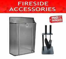 Fire Screen Guard Black Spark Safety Cover and Crafters Fireside Companion Set