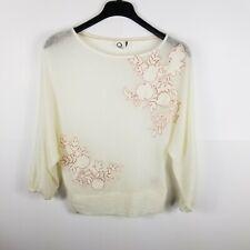 akemi + kin Women Semi Sheer Top Dolman Sleeve  Flower Embellished Cream XS