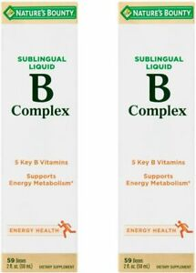 [2-Pack] Nature's Bounty Vitamin B Complex sublingual Liquid, 2 Oz X 2