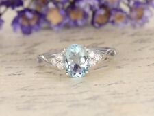 Ring 14K White Gold Finish 1.50Ct Oval Cut Aquamarine Diamond Engagement