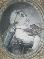 Antique Old French Print of a Young Woman after Philibert Louis Debucourt