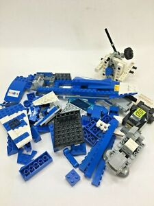 Lot LEGO Blocks & Misc Parts Blue Police Boat or Jet & Racecar & Specialty Parts