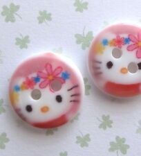"US SELLER 40 x 1/2"" Pink Rounded Kitty Plastic Buttons/Hello/Flower/2-Hole SB248"