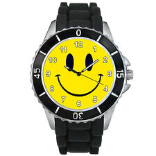 Happy Smiley Face Fashion Mens Ladies Black Jelly Silicone Wrist Watch S1358E