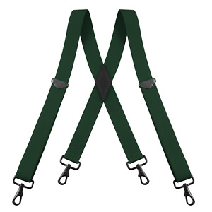 "Buyless Fashion Suspenders for Men - 48"" Adjustable 1 1/4"" - X Back Black Hooks"
