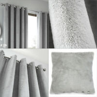 Silver Designer Curtains By Caprice Home Soft Touch Fur Eyelet Top Ring Top Pair