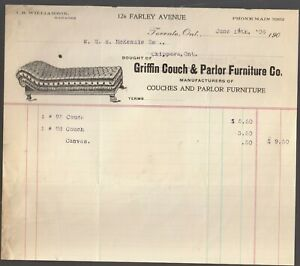 1906 GRIFFIN COUCH & PARLOR FURNITURE CO.,(TORRNTO?-TORONTO) ADVERTISING INVOICE