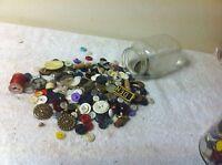 Vintage Pint jar of Buttons craft art lot