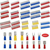280PCS/set Assorted Crimp Spade Terminal Insulated Electrical Wire Connector