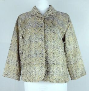 Chico's Size 2 Large Striking Gold Navy Egyptian Pattern Dressy Jacket Pristine!