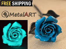Valentines day gift - Metal Rose glowing in the Dark, Handmade flower sculpture