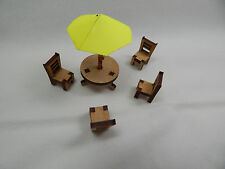 "Dollhouse Miniature 1/4"" Scale 1:48 Outdoor Patio Set  Made of  Plywood #Z293Y"