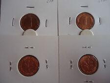 4x 1 Pfennig 1971 DFGJ bankfrisch