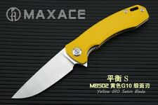 Maxace Balance S Folding Knife SS + Yellow G10 Handle Plain Satin Blade MBS02
