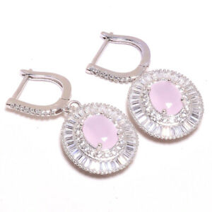 """Madagascar Rose Quartz, White Topaz 925 Sterling Silver Earring 1.44"""" T8696"""