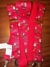 Santa Claus Sports Baseball Golf Football Clip On Suspenders Red NWT