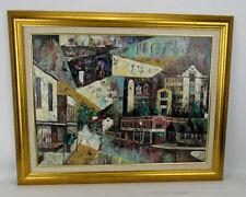 Mid Century Cityscape Acrylic Painting Bronxville NY Artist Melvin N. Jennings