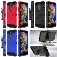 For LG Stylo 4 / 4 Plus Belt Clip Kickstand Case Cover +Tempered Glass Protector