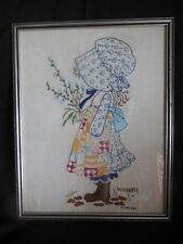 "Finished Embroidered Wall Decor  Holly Hobby Vintage Framed 11"" x 15"" 1980"