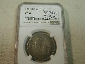 1931 Ireland 1/2 C KM 8 NGC Very Fine