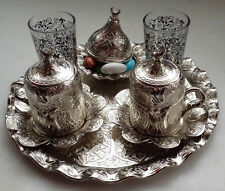 SILVER COLOUR TURKISH COFFEE TEA WATER SET Cups Bowl Tray, Glass,Porcelain M-1