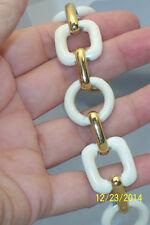 Vintage Signed Monet Off White Enamel & Gold tone Couture Link Toggle Bracelet