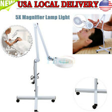 5x Diopter LED Magnifying Rolling Floor Stand Lamp Magnifier Glass Len Facial US