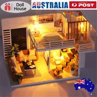 Music DIY Miniature Wooden Doll House Model Kit Kids Furniture Gift 3D LED