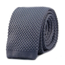 New Luxury Mens Plain Charcoal Grey Woven Tie Necktie Solid Knitted Skinny Solid