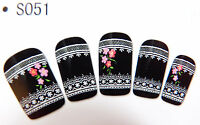 Nail Art Nagel Sticker Water Decal Transfer Tattoo Blumen Spitze Lace S051 NEU