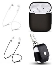 Airpods Accessories Bundle, Silicone Case, PU Leather Keychain Case, 2 Straps