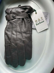 BARBOUR BURNISHED LEATHER THINSULATE GLOVES MENS L LARGE DK BROWN NEW *Z17