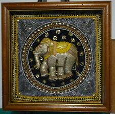 A pair of vintage framed Burmese Kalaga tapestry hand embroidered elephant art