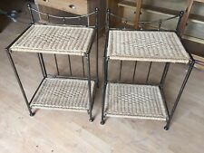 Pair Of  Fold Up Metal/sea Grass Bedside Tables In Good Clean Order