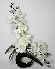 Artificial Silk Ivory/Cream Orchid Flower Arrangement With Leaves in Vase.