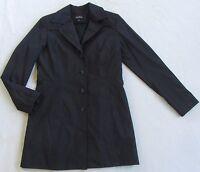 Express Women's L/S Button Down Black Longer Length Rain Coat Jacket - Size 3/4