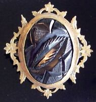 EARLY CARVED BLACK BAKELITE VICTORIAN MOURNING PIN BROOCH W FANCY BRASS FRAME
