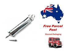 Apothecary Medical Style Enema Syringe Polished Metal Finish 2 Nozzles 200cc