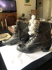 Antique Victorian Women's Black Leather High Top Lace Up Boots Shoes 12 Eyelits